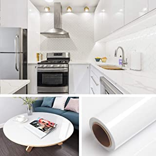Livelynine Shiny White Wallpaper Peel and Stick Countertops Kitchen Wallpaper Stick and Peel Kitchen Cabinet Cupboard Self Adhesive Shelf Liners White Vinyl Sheet 15.8