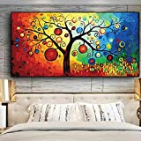 FXBSZ Tree of LifeMoney Tree Pintura al óleo abstracta sobre lienzo Carteles e impresiones escandinavos Modern Wall Art Picture for Living Room 70x140cm sin marco