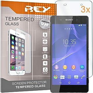 REY skärmskydd för SONY XPERIA Z2, härdat glasfilm, premiumkvalitet, [paket 3x]