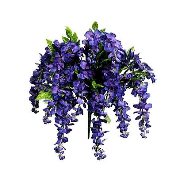 Artificial Wisteria Long Hanging Bush Flowers – 15 Stems For Home, Wedding, Restaurant and Office Decoration Arrangement, Purple