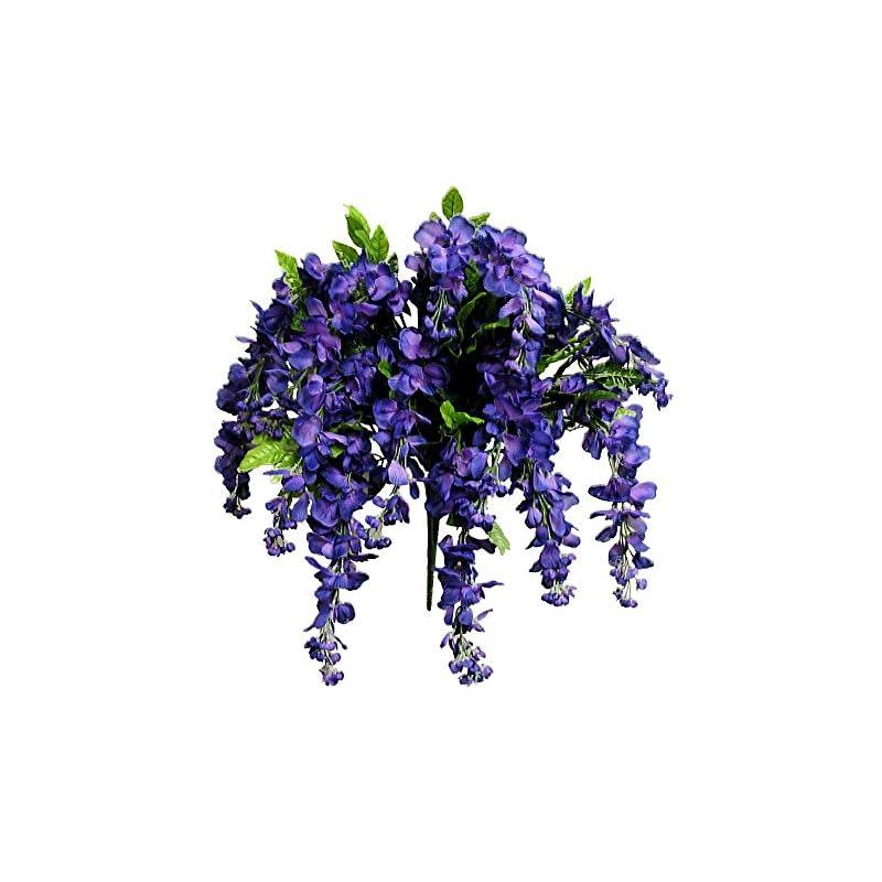 silk flower arrangements artificial wisteria long hanging bush flowers - 15 stems for home, wedding, restaurant and office decoration arrangement, purple