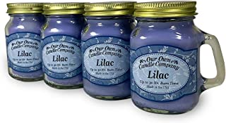 Our Own Candle Company Lilac Scented Mini Mason Jar Candle, 3.5 Ounce (4 Pack)