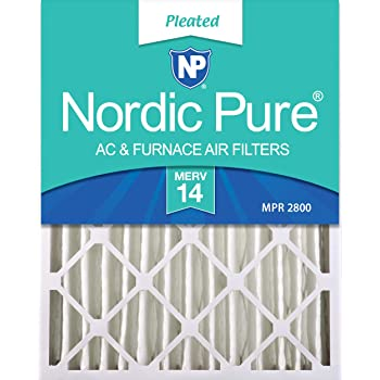 Nordic Pure 17x22x1 MERV 8 Pure Carbon Pleated Odor Reduction AC Furnace Air Filters 3 Pack
