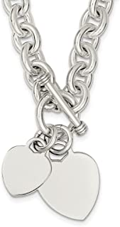 925 Sterling Silver Engraveable Heart Disc On Link Toggle Chain Necklace Pendant Charm S/love Engravable Fine Jewelry Gifts For Women For Her