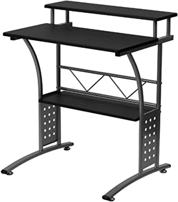 b57b6a80a06 3 Tier Computer Desk Black and Silver Small Modern Adjustable Desk with  Shelves Workstation Desktop Laptop