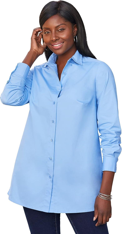 Jessica London Women's Plus Size Poplin Tunic Long Button Down Shirt