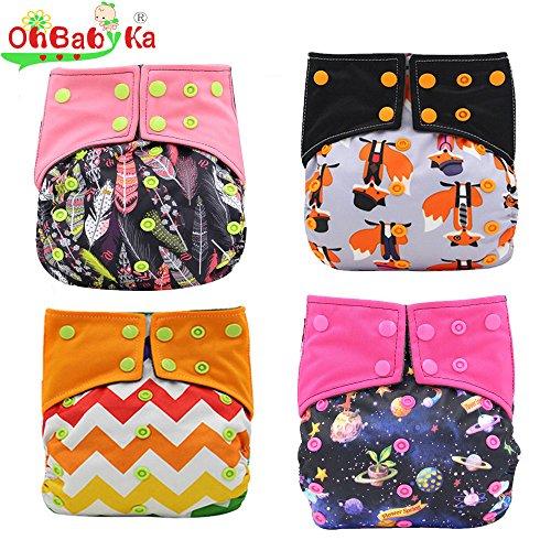 Ohbabyka Aio-Sewn in Insert-Couche-culotte en tissu réutilisable pour bébé, imperméable, taille unique