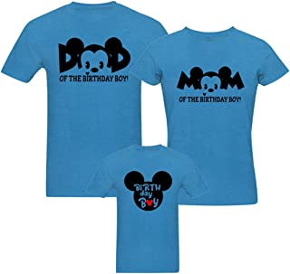 RAINBOWTEES Mickey Birthday-Boy Family t-Shirts Set of 3 for Father Mother and Kids