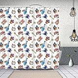 Duschvorhang,Cupcakes Pilze & Flaschen hängen im Sky Dessert Print,Enthält 12 Duschvorhanghaken waschbar,Wasserdicht Bad Vorhang für Badezimmer Badewanne 180X180cm
