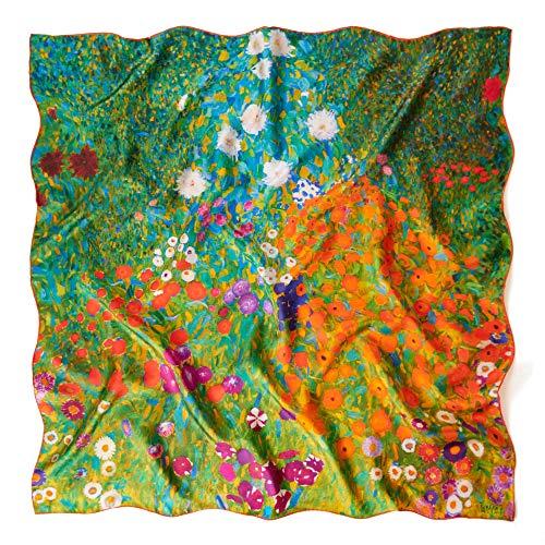prettystern Damen schwere Crepe Satin Seide bunt Tuch Kunstdruck 90cm Klimt Blumengarten P557