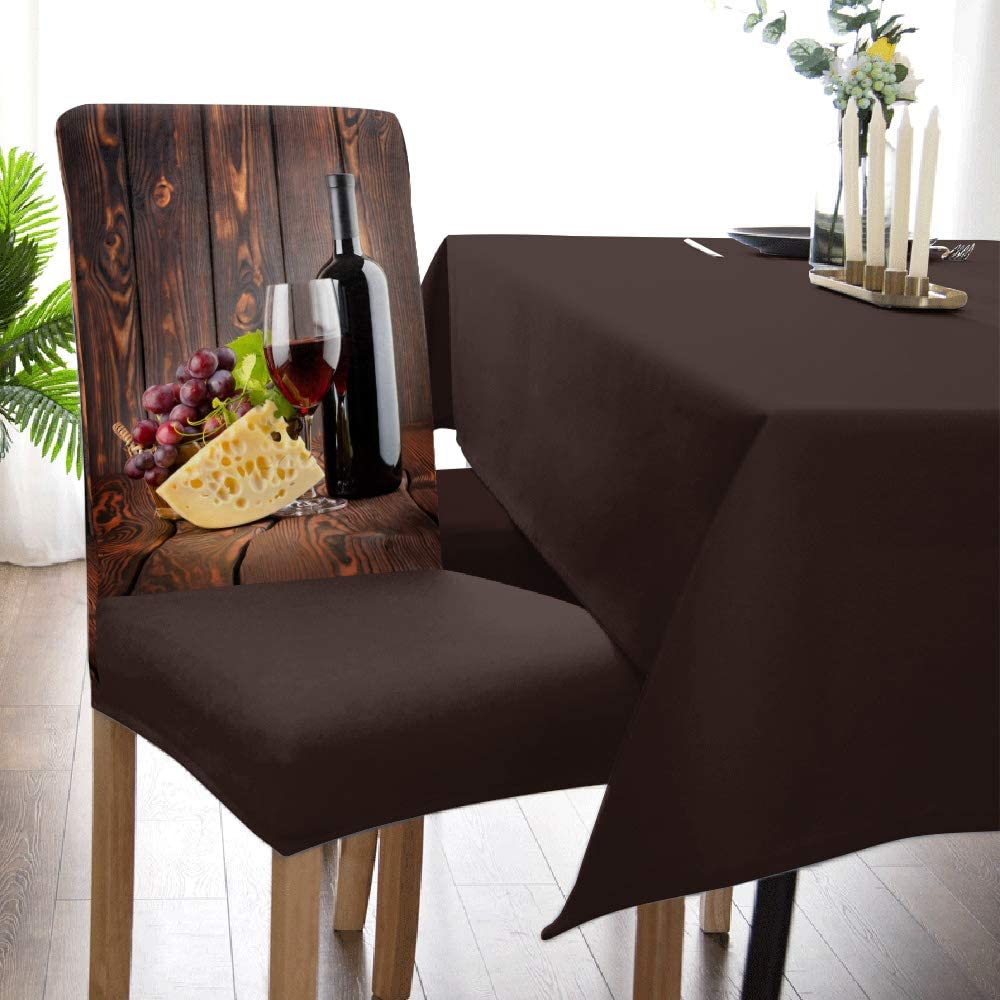 Dining Room Chair Covers, Cheese Wine Grape Slipcovers Set of 9, Removable  Stretch Kitchen Chair Cover Banquet Chair Protector Cover Seat for Dining  ...