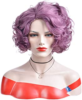 BERON Short Curly Wig Natural Wavy Wigs for Cosplay Costume Party Come with Wig Cap (Taro Purple)