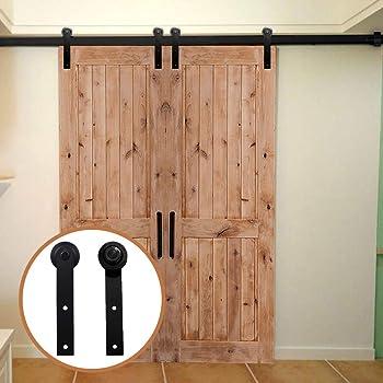LWZH 15FT/457cm Herraje para Puerta Corredera Kit de Accesorios para Puertas Correderas para Puertas Dobles,Negro I-Forma: Amazon.es: Bricolaje y herramientas