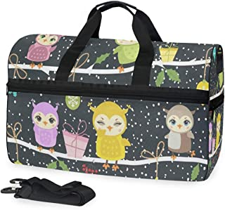 Travel Tote Luggage Weekender Duffle Bag, Winter Cute Owls Christmas Large Canvas shoulder bag with Shoe Compartment