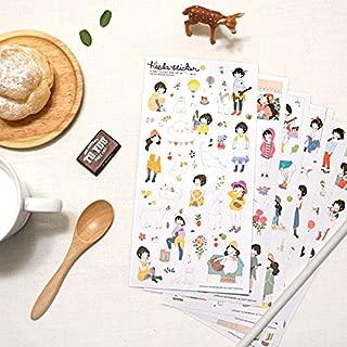 DzdzCrafts 12 Sheets DIY Cute Cartoon Sweet Girl PVC Decorative Diary Album Calendar Adhesive Sticker Scrapbooking Craft(6 Sheets each pack, 2 packs) + Gift