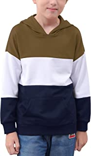 NAVINS Boys Contrast Colorblock Patchwork Casual Hooded Sweatshirt Pullover Tops for 4-14T Kids