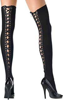 ToBeInStyle Women's Nylon Dark Opaque Closed Toe Thigh Highs With Lace Up Top