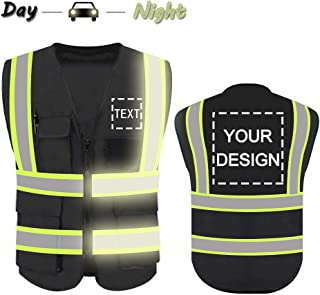 High Visibility Reflective Safety Vest Customize Logo With 5 Pockets Hi Vis Vest Outdoor Protective Workwear (Black (M))