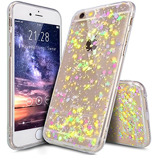 Cover iPhone 6S Plus,Cover iPhone 6 Plus,Cristallo lusso Bling scintillio lucido diamante scintilla Ultra Sottile Trasparente TPU Silicone Gel Custodia Case Cover per iPhone 6 Plus/6S Plus,Chiaro B