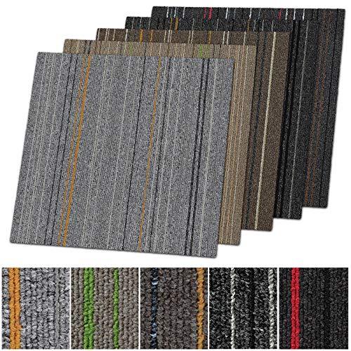 1 m² Teppichfliesen selbstliegend Warschau für Büro & Gewerbe - gestreifte Fliesen Teppiche je 50x50 cm - robuster Teppichboden - Bodenfliesen mit rutschfestem Vinyl-Rücken (Anthrazit-rot, 4 Stück)