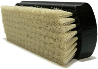 Valentino Garemi Luxury Shining Brush - Polishing Cleaning Buffing Dusting Natural Goat Hair, Real Stained Wood Handle for Leather or Fabrics Shoes, Boots, Crafts, Cloths, Furniture - Black Stained