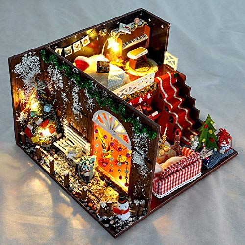 Kisoy DIY Dollhouse Kit, 1:24 Scale Exquisite Miniature with Furniture, Dust Proof Cover and Music Movement, Your Perfect Craft Gift for Friends, Lovers and Families (Christmas Eve)