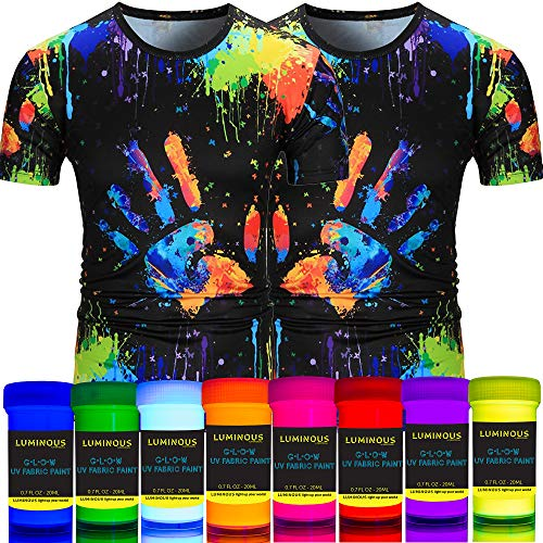 individuall UV Textilfarben Neon Set | 8 Waschfeste Stoffmalfarben | Schwarzlicht Farbe für knalligen Leuchteffekt | Ideal zum T-Shirt & Stoff bemalen | 8 x 20 von Luminous