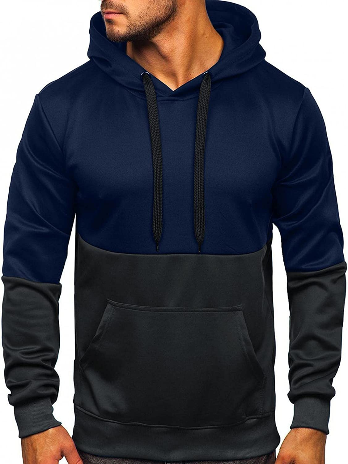 Aayomet Hoodies Sweatshirts for Men Patchwork Color Block Tops Long Sleeve Workout Athletic Hooded Pullover Blouses Sweaters
