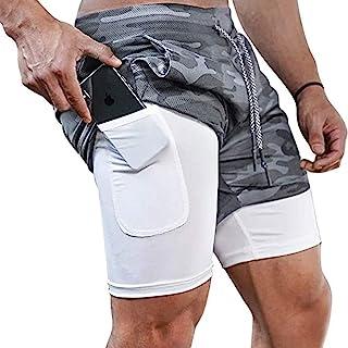 شلوارک مخصوص دویدن مردانه Surenow Sh شلوارک مخصوص دویدن برای مردان orts شلوار خفا 2 در 1 , شلوارک ورزشی در فضای باز یوگای سالن بدن سازی 7 اینچی