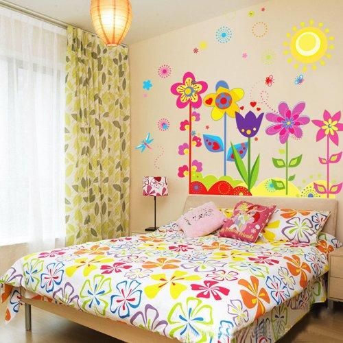 YESURPRISE Vinilo Decorativo Infantil Pegatina Pared Para Salón y Dormitorio Flores Coloridas
