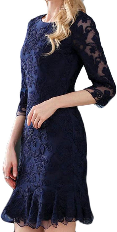 Qiangjinjiu Women's Fashional Elegant Embroidered Solidcolord Mesh MidLength Dresses