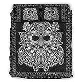 LIFOOST Viking Odin - Juego de cama (4 piezas, transpirable, 203 x 230 cm), color blanco