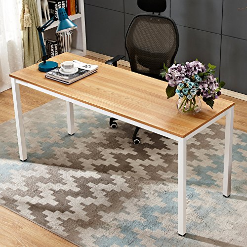 Need Computer Desk 63 inches Computer Table Writing Desk with BIFMA Certification Workstation Office Desk,Teak White AC3BW-160
