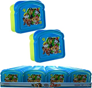 Paw Patrol Dog Characters Blue & Green Sandwich Container Reusable BPA Free Plastic Multi-Purpose Food Storage w/ Lid Bread Packed Snack Food Non-Toxic Box Case for Little Kids - Paw Patrol (2 Items)