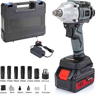 Impact Wrench with 1 Battery, KINGSHOWDEN Cordless Impact Driver 18V, 500N.M High Torque, 5,000mAH Lithium Battery, Dual S...