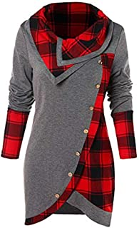 Winter Sweatshirts for Women 2019 Fashion Plaid Printed Christmas Button Turtleneck Long Sleeve Warm Casual Tops 5XL