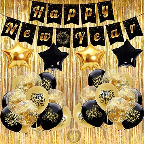 Decoracion Nochevieja 2021 Set BETOY Banderinas Feliz Año Happy New Year,  Globos Confeti y Cortina para Fiesta de Víspera de Año