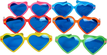 Seekingtag Heart Shaped Colorful Jumbo Blue Lens Sunglasses for Costumes Cosplay Halloween Party Fun Party Favor Photo Booth Props – Party Pack of 6, 10