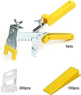 Tile Leveling System DIY Tiles Leveler Tool, Adjustable Pliers Plus 300-Piece 1/16 Inch (1.5mm) Leveling Spacer Clips Plus 100-Piece Reusable Wedges