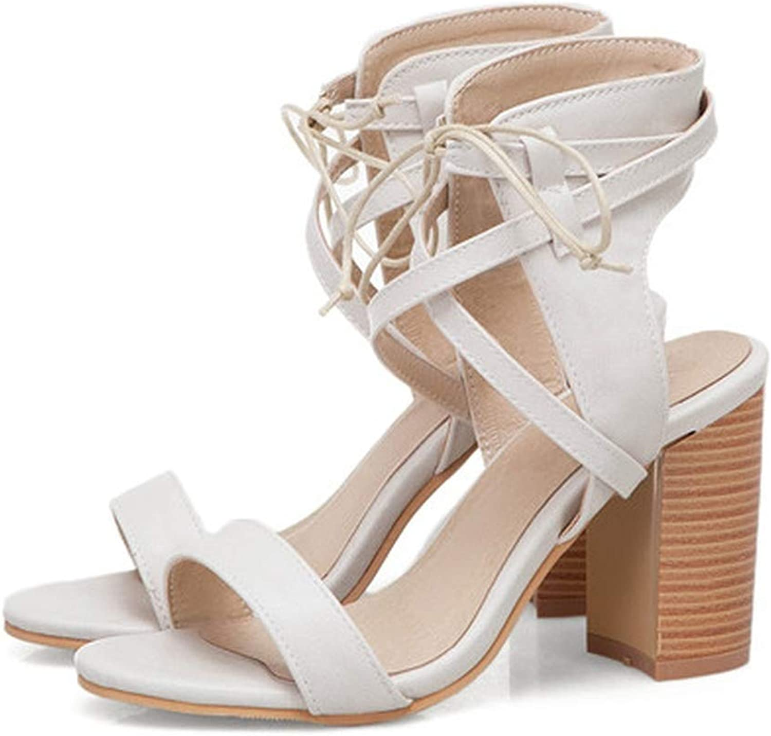 YuJi Gladiator shoes Lace Up Thick High Heel Ankle Wrap shoes Cross-Tied Open Toe Sandals,Beige,6.5