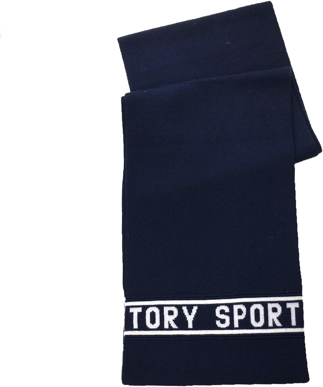 Tory Burch Women's Tory Sport Banner Logo Merino Wool Scarf, Tory Navy/Cream