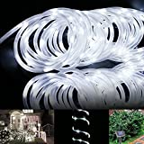 Solar Rope Lights Outdoor Lychee 16.5ft 50LED Waterproof Solar Power String w/ Light Outdoor Rope Lights Ideal for Home Garden Party Wedding Decoration (White)