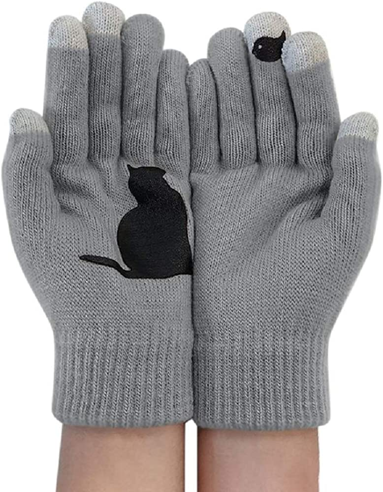 Women Men Winter Knit Gloves Cute Animal Cat Warm Thermal Mittens for Outdoor,Cycling,Running,Driving