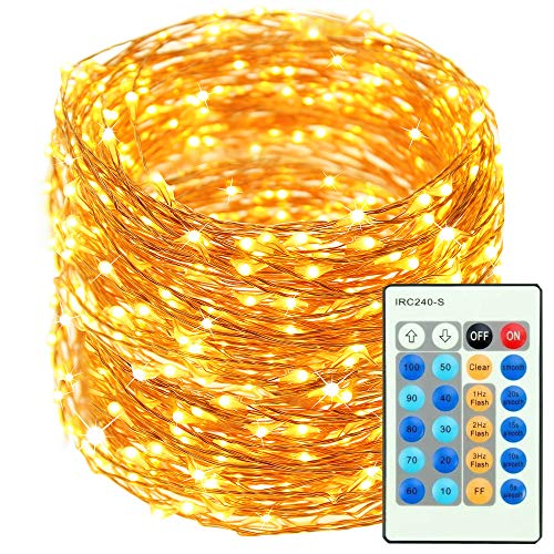 Fullbell Copper Wire Lights, (165ft 500 LED) Led Fairy Starry String Lights with Remote Control, Waterproof Firefly Twinkle Lights for Indoor, Bedroom, Patio, Garden, Yard, Party, Wedding-Warm White