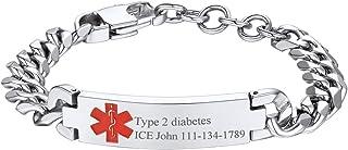 U7 Custom Free Engraving Medical ID Bracelet Men Women Personalized Stainless Steel/18K Gold Plated Caduceus Emergency Alert Cuff Bracelet Bangle Identification Jewelry