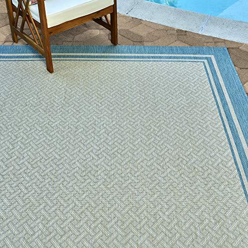 Gertmenian 21570 Outdoor Rug Freedom Collection Bordered Theme Smart Care Deck Patio Carpet 8x10 Large, Border Aqua Blue