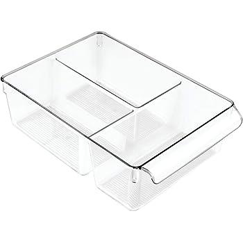 InterDesign Linus Caja para almacenaje, organizador para la cocina de plástico de tamaño grande, caja con 3 compartimentos, transparente: Amazon.es: Hogar