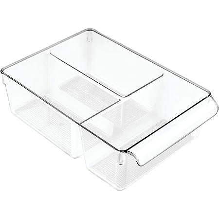 InterDesign Linus bac alimentaire, grand organisateur de cuisine à 3 compartiments en plastique avec poignée, transparent