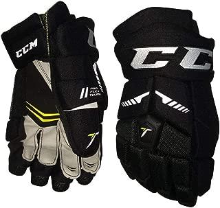 CCM Black Tacks 40 Hockey Nylon Open Cuff Gloves, Junior, Size 10