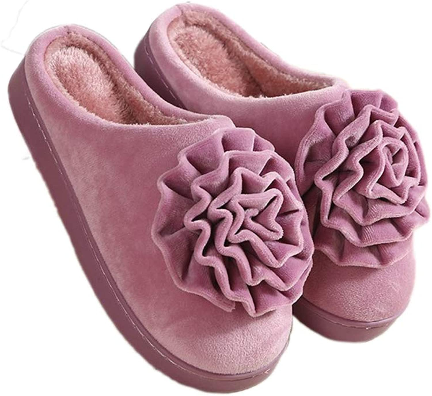Nafanio Winter Women Warm Slippers Plush Home Female Rubber Flower Ladies Home Men Indoor shoes